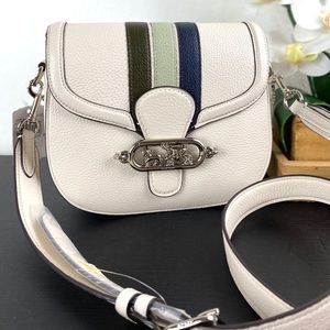 Coach Jade Saddle Bag With Varsity Stripe